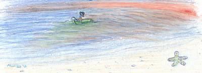 Maine Beach Drawing - Fishing For Starfish by Michael Mooney