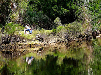 Photograph - Fishing From The Bank by Judy Wanamaker