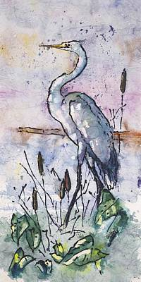 Egret Batik Painting - Fishing Heron by Gloria Avner