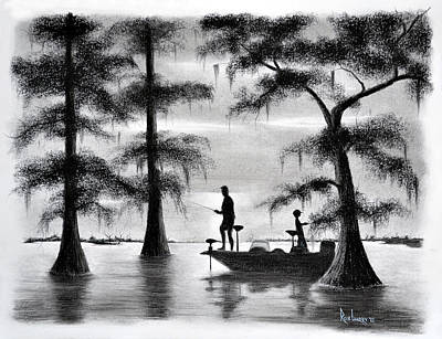 Cypress Tree Drawing - Fishing In The Basin by Ron Landry