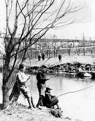 Fishing In The Bronx River,  New York Art Print by Everett