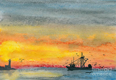 Fishing In The Evening  Art Print by R Kyllo