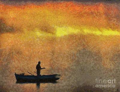 Fisherman Painting - Fishing In The Light by Dragica  Micki Fortuna