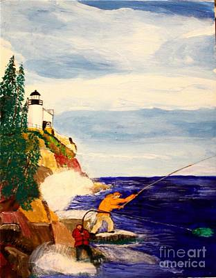 Painting - Fishing The Bass Hole by Bill Hubbard