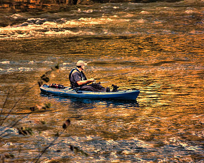 Photograph - Fishing The Golden Hour by Steven Richardson