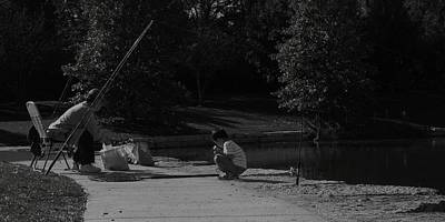Photograph - Fishing With Grandpa by Anna Villarreal Garbis