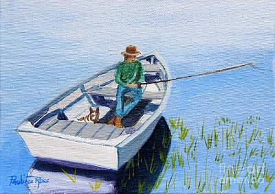 Dog In Lake Painting - Fishing With My Pal by Pauline Ross