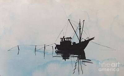 Painting - Fishingboat In Foggy Weather by Annemeet Hasidi- van der Leij