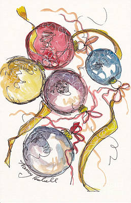Five Christmas Ornaments Original by Michele Hollister - for Nancy Asbell