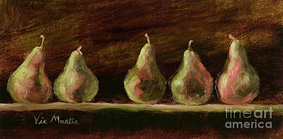Painting - Five Delicious Pears by Vic  Mastis