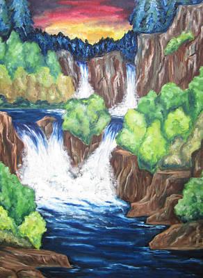 Art Print featuring the painting Five Falls by Cheryl Pettigrew