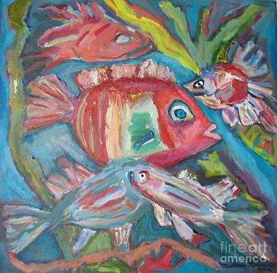 Five Fish Art Print by Marlene Robbins