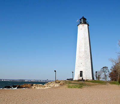 Five Mile Point Light Art Print by Gerald Mitchell