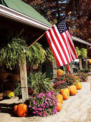 Flag Among The Pumpkins Art Print by Judith Lawhon