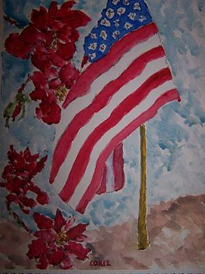 Flag And Roses Art Print by James Cox