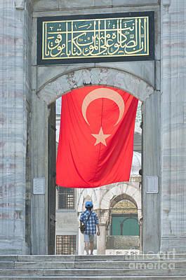 People Photograph - Flag At Blue Mosque by Andrew  Michael