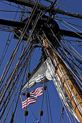 Flag In The Rigging Art Print by Garry Gay