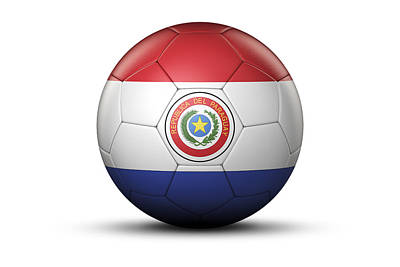 Flag Of Paraguay On Soccer Ball Art Print by Bjorn Holland