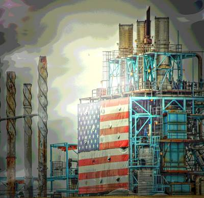 Flag On Refinery Art Print