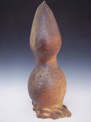 Wood Fired Stoneware Sculpture - Flame Of The Goddess by Karla Ricker