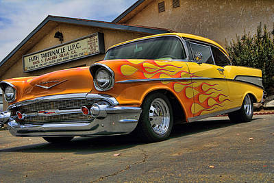 Flamed 57 Chevy Art Print by Fred Wilson