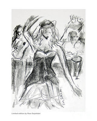 Drawing - Flamenca In Black And White by Reza Sepahdari