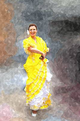 Art Print featuring the photograph Flamenco Dancer In Yellow by Davandra Cribbie