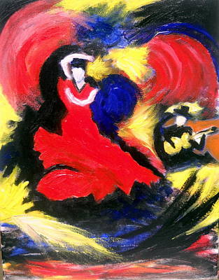 Painting - Flamenco Dancer by Ted Hebbler