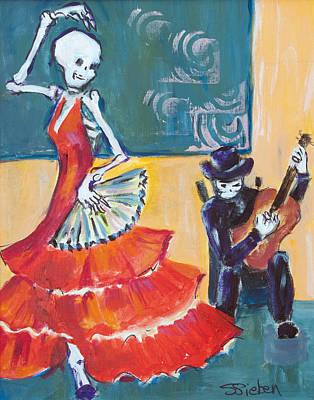 Skeletons Painting - Flamenco Fan II by Sharon Sieben