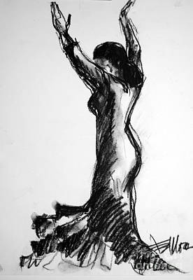 Modern Abstract Art Drawing - Flamenco Sketch 3 by Mona Edulesco