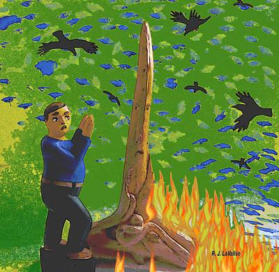 Flames From Driftwood Art Print