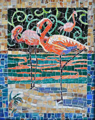 Glass Art - Flaming Flamingos by Li Newton