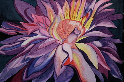 Art Print featuring the painting Flaming Flower by Teresa Beyer