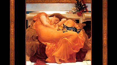 Flaming June Painting - Flaming June Doxies Masterpiece by Laura Sotka