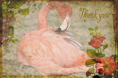 Photograph - Flamingo And Roses Thank You by Jan Amiss Photography