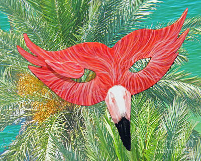 Mixed Media - Flamingo Mask 2 by Lizi Beard-Ward