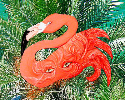Mixed Media - Flamingo Mask 5 by Lizi Beard-Ward