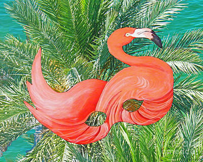 Mixed Media - Flamingo Mask 6 by Lizi Beard-Ward