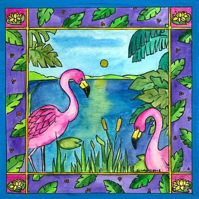 Flamingos Art Print by Pamela  Corwin