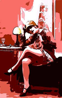 Female Nude. Nude Drawings Digital Art - Flapper Girl 3 by Steve K