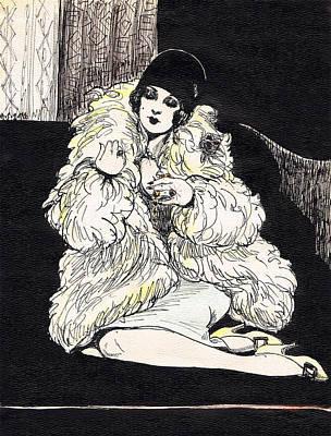 Black Ring Drawing - Flapper by Mel Thompson