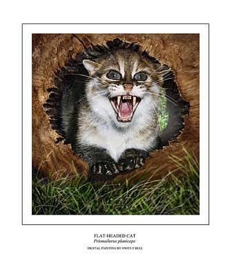 Thailand Wildlife Digital Art - Flat Headed Cat Prionailurus Planiceps by Owen Bell