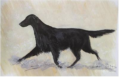 Dog Trots Painting - Flatcoat Retriever by Ron Hevener