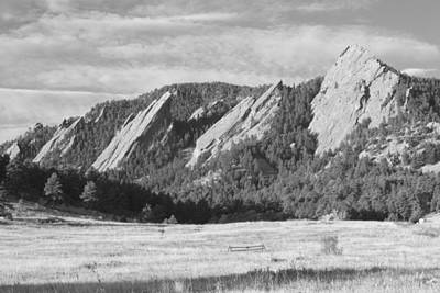 Photograph - Flatirons Boulder Colorado Black And White Photo by James BO Insogna
