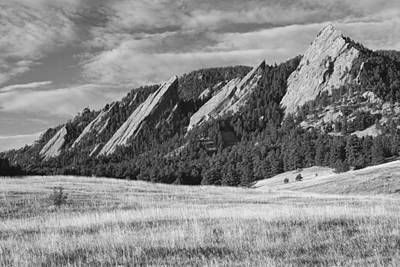 Photograph - Flatirons With Golden Grass Boulder Colorado Black And White by James BO  Insogna