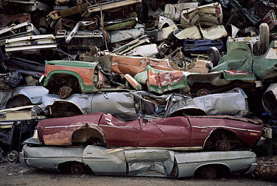 Flattened Car Bodies Art Print