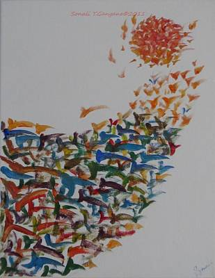 Art Print featuring the painting Fleet Of Birds by Sonali Gangane