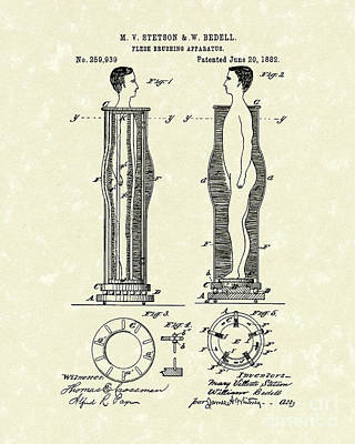 Drawing - Flesh Brushing Apparatus 1882 Patent Art by Prior Art Design