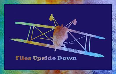 Small Planes Digital Art - Flies Upside Down by Jenny Armitage