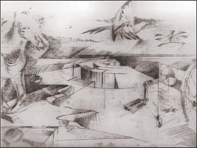 Drawing - Flight 1981 by Glenn Bautista